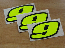 set of 3 - Black & Fluorescent Yellow number 9 decals / stickers IMPACT 60mm