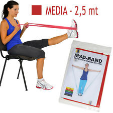 Msd FASCIA ELASTICA ROSSA 2,5 mt MEDIA Resistenza Band Fitness Pilates Yoga