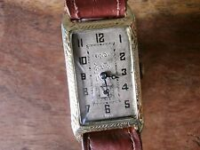 VINTAGE SWAN GOLD MANS MENS RECTANGULAR TANK WATCH LONGINES CLASP similar CURVEX