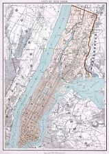 MAP ANTIQUE 1895 BIEN NEW YORK CITY PLAN LARGE REPRODUCTION POSTER PRINT PAM1990