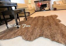 3' x 5' Grizzly Bear Faux Fur Bearskin  Mountain Bear Designer Rug