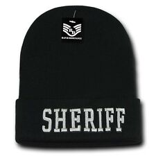 Black & Silver Sheriff Embroidered Long Beanie Police Winter Knit Ski Cap Hat