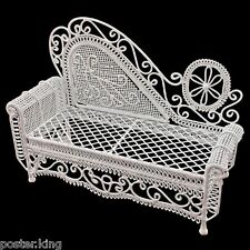 White Wire Chaise Longue Long Sofa Sleeper 1/12 Doll's House Dollhouse Furniture