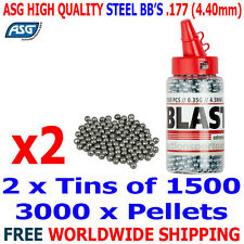 ASG Silver Airgun Air Rifle CO2 Pistol Steel BB Ammo .177 4.40mm 2 X 1500PCS