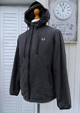 Fred Perry Storm Grey Wax Cotton Hooded Jacket - S/M - Ska Mod Scooter Casuals