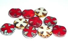 Medieval Cross Coin Beads  (10) 14mm Mix of Red & Beige w/ Picasso and Copper