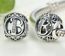 hot letters B European Silver CZ Charm Beads Fit sterling 925 Bracelet Chain #AB