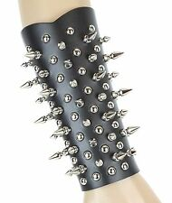 Spike Stud Gauntlet Genuine Leather 3 Buckle Punk Gothic Thrash Heavy Metal