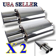 EUROPEAN STYLE FOR BIMMER! 2X SPORT RACE OVAL EXHAUST MUFFLER + DUAL ROUND TIPS