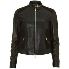 Versace Black Leather Wool Blend Panelled Biker Jacket - IT 42 UK 10