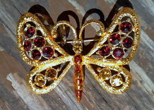 18K GOLD PLATED AMBER WITH DARK CRIM RED AND AMBER CRYSTAL BUTTERFLY BROOCH PIN