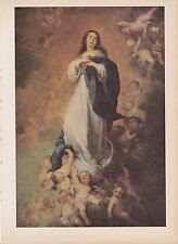 """1939 Vintage """"THE IMMACULATE CONCEPTION"""" by MURILLO Color Art Plate Lithograph"""