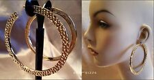 """LARGE 3.5"""" THIN HAMMERED GOLD CRESCENT HOOP EARRINGS NEW"""