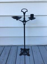 Antique Cast Iron Floor Stand Ashtray Ornate w/ Matchbook Holder Cigarette Pack