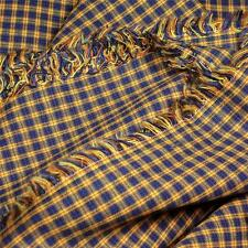 "High End Yarn Dyed Plaid Navy & Gold Shirting Cotton Fabric, 60""W Per 1/2 Yard"
