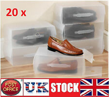 20x Clear Mens woman's  shoe Boxes Storage Box Organiser stackable foldable