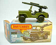 MATCHBOX sf Nº 38c MILITAIRE JEEP tronc noir plaque de sol avec MG en box
