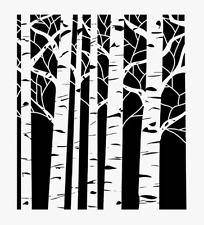 ASPEN TREES STENCIL TREE TEMPLATE STENCILS BACKGROUND PATTERN CRAFT NEW BY TCW
