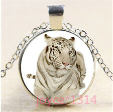 Vintage Tiger Cabochon Tibetan silver Glass Chain Pendant Necklace #324