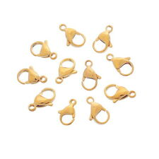 10PCs Stainless Steel Lobster Clasp Gold Plated For Jewelry Findings DIY