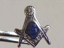 NOS FREEMASONS MASON MASONIC 10MM SILVER TONE BLUE ENAMEL G TIE TACK LAPEL PIN