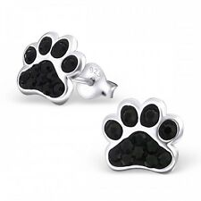 Sterling Silver 925 Dog / Cat Paw Crystal Stud Earrings - Black