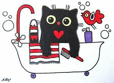 ACEO Original ink painting BLACK CAT & BIRD bath brush shampoo art card gift red