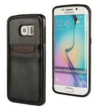 For Samsung Galaxy S6 Edge Black Genuine Real Leather TPU Credit Card Case Cover