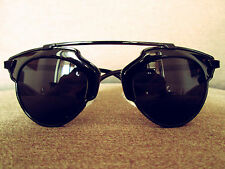 Black Oversized Vintage Retro Geek Fashion Sunlasses 60s 80s
