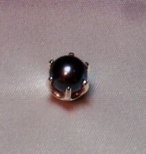 6MM ROUND GENUINE EXOTIC BLACK PEARL MENS SILVER TIE TACK PIN