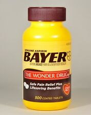 Genuine BAYER Aspirin (500 Coated Tablets) 325mg Pain Reliever
