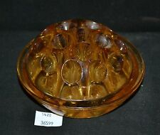 ThriftCHI ~ Amber Glass 16 Hole Flower Frog Stem Holder