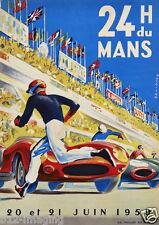 Le MANS GRAND PRIX COLORE Large 1959 VINTAGE POSTER 24 HR DU MANS