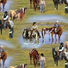 Happy Trails Victoria Schultz By the yard fabric Cowboys Cowgirls Riding Horses