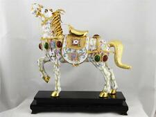 BEAUTIFUL VINTAGE CHINESE CLOISONNE HORSE STATUE, W/ WOOD STAND, MINT CONDITION