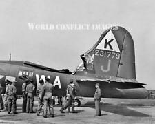 USAAF WW2 B-17 Bomber Mission Tail Damage 8x10 Photo 379th BG WWII