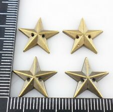 60pcs Bronze Acrylic Five-pointed star 2 holes Can be pasted Bead 2.5x15mm