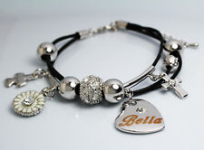 BELLA Name Bracelet Heart Charm 18ct White Gold Plated Swarovski Element Leather