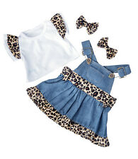 "Denim Leopard outfit top dress ear bows clothes to fit 15"" build a bear plush"