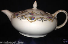 BOHEMIA CERAMICS MAYFAIR TEAPOT & LID 24 OZ FLORAL SWAGS FLOWERS CZECHO-SLOWAKIA