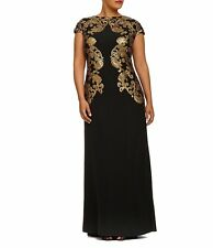 Tadashi Shoji Medallion Drape Back Gown In Black/Gold Plus Size 16Q NWT