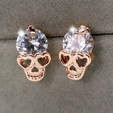 Fashion Women Rose Gold Crystal Diamond Skull Pierced Ear Stud Earrings Jewelry