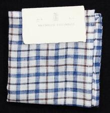 $175 NWT Brunello Cucinelli Pocket Square Blue White Brown Plaid Linen Hand Made