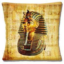 "NEW Egyptian Tutankhamum Mask Ancient Symbols Gold Blue 16"" Pillow Cushion Cover"