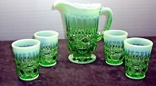 5 pcs Green opalescent lemonade set 1960 by Mosser USA