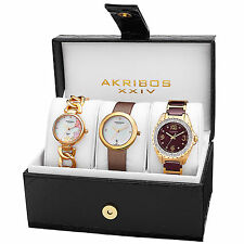New Women's Akribos XXIV AK887YG Gold-tone Diamond Bracelet/Strap Watch Set
