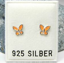 Neu 925 Silber OHRSTECKER SCHMETTERLINGE orange OHRRINGE Butterfly SCHMETTERLING