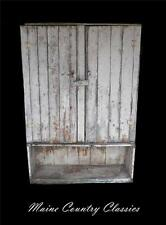 Antique 2 DOOR MAINE JELLY CUPBOARD CHIPPY WHITE OVER GREEN PAINT Primitive