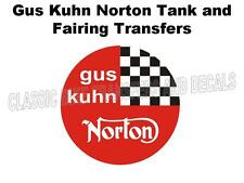 Norton Gus Kuhn Tank Fairing Transfers Decals Stickers Motorcycle (Pair) Red