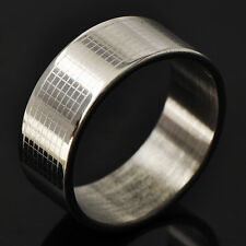 New Grid Type Men's Band Promise Love Band Ring White Gold Filled Size 8